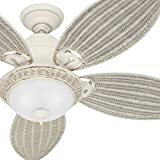 Hunter Fan 54' Textured White Finish Ceiling Fan with Swirled Marble Glass Light Kit (Certified Refurbished)