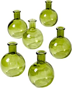 """Serene Spaces Living Set of 6 Green Ball Bud Vases, Transparent Glass Vases for Weddings, Events, Parties, Floral Centerpieces for Home Decor, Measures 4"""" Tall"""