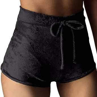 Macondoo Womens Solid Sports High Rise Drawstring Velour Shorts