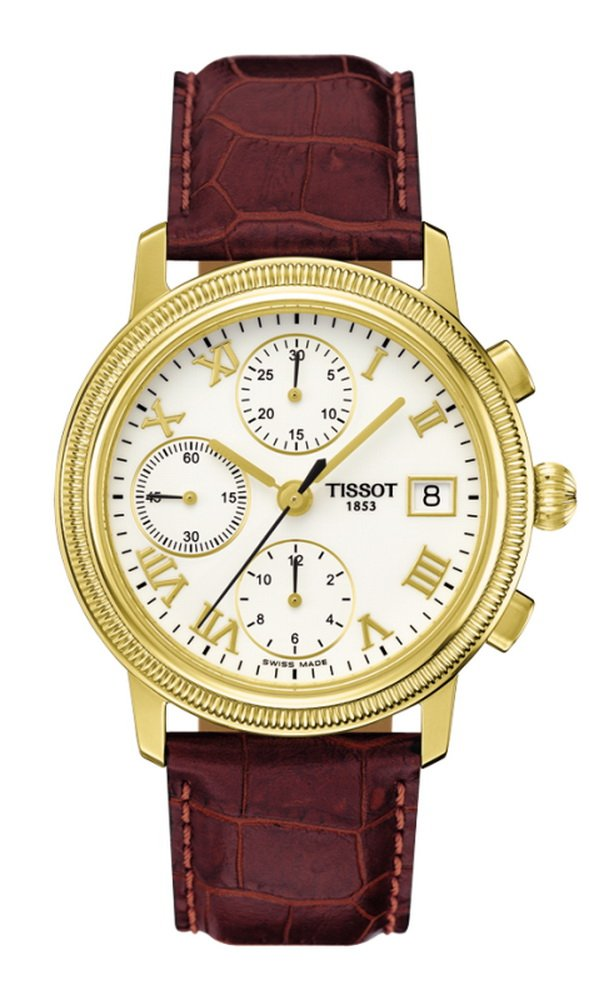 Tissot Bridgeport Men's Automatic Chronograph 18K Gold Case White Dial Watch with Brown Leather Strap T71346513