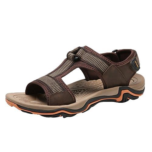 Yiiquanan Sandalias de Cuero de Imitación para Hombre Verano Zapatillas de Senderismo de Trekking para Playa
