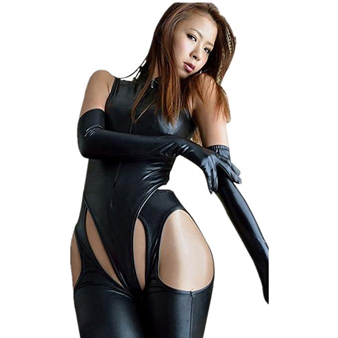 3f85b613abbe Amazon.com  iEFiEL Women Faux Leather Lingerie Romper Jumpsuit Pants  Leotard Party Clubwear Catsuit  Clothing