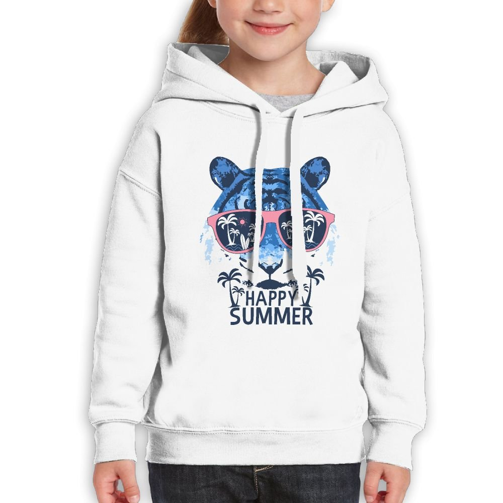 Fashion Girl's Sweatshirts,Breathable Happy Summer Tiger Cotton Hoodies Pullover For Teenage