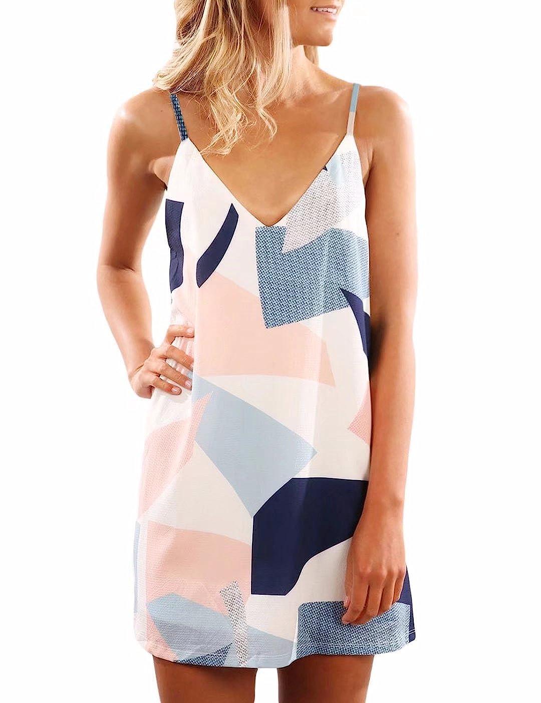 Yandw Damen Sommerkleid Elegant Ärmellos V-Ausschnitt Chiffon Boho Casual Strandkleid Minikleider