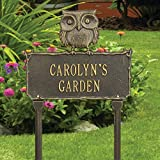 Whitehall Personalized Owl Lawn Sign - Custom Outdoor Aluminum Garden Stake - Bronze/Gold