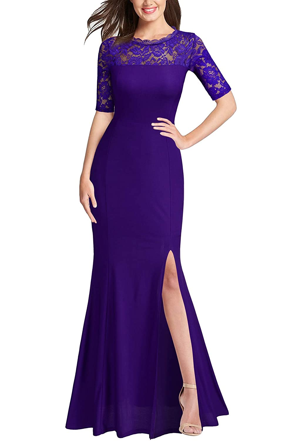 Purple FORTRIC Women 3 4 Lace Sleeve Long Evening Formal Cocktail Party Dress Black