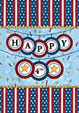Toland Home Garden Happy Fourth 28 x 40-Inch Decorative USA-Produced Double-Sided House Flag