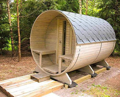 Barrel Sauna Kit BZBCabins.com W29, 4 Person Outdoor Sauna With Harvia M3 Wood Burning Heater