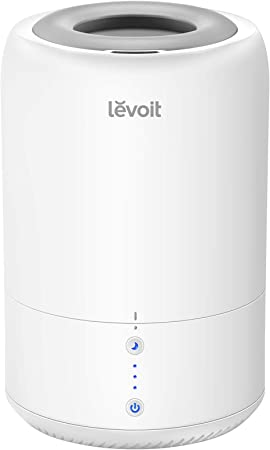 Levoit Humidifiers for Bedroom, Top Fill Cool Mist Humidifier & Essential Oil Diffuser, Smart Sleep Mode, BPA Free, Whisper Quiet Operation, Auto Off,