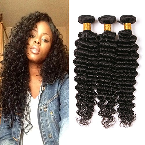 Daiweier Deep Curly Brazilian Hair 3 Bundles 14 16 18 Inches 300G Real Human Hair Extensions Weft Grade 9A Hair In All Department Same Day - Standard Track Package Shipping