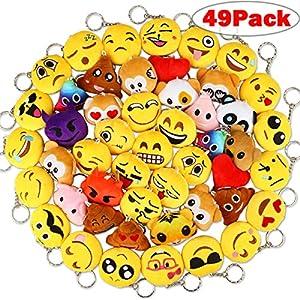 Dreampark Emoji Keychain Plush, Mini Emoji Party supplies [49 Pack] Emoji Plush Keychains For Kids Party Favors Christmas/Birthday Gifts 2