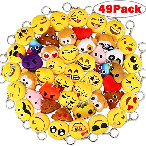 Dreampark Emoji Keychain Plush, Mini Emoji Party supplies [49 Pack] Emoji Plush Keychains For Kids Party Favors Christmas / Birthday Gifts 2