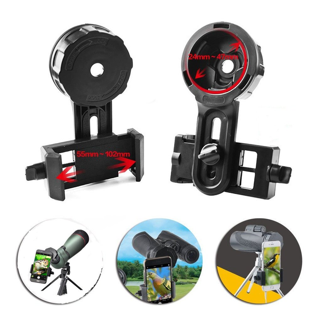 Cell Phone Adapter Mount – Compatible with Binocular Monocular Spotting Scope Telescope and Microscope SoloSun TA-001
