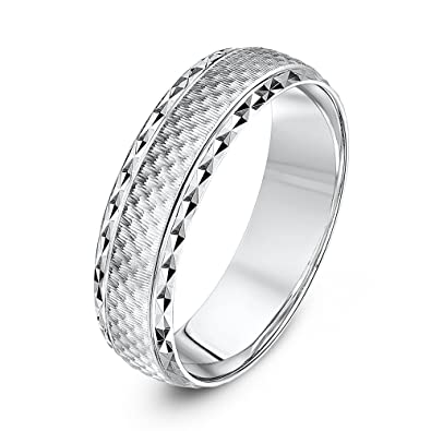 6mm Solid 925 Sterling Silver 6mm Design Edge Classic Traditional Wedding Band Ring