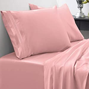 1800 Thread Count Sheet Set – Soft Egyptian Quality Brushed Microfiber Hypoallergenic Sheets – Luxury Bedding Set with Flat Sheet, Fitted Sheet, 2 Pillow Cases, Queen, Pink