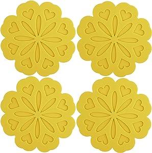 ME.FAN 4 Set Silicone Pot Holders, Trivet Mat, Jar Opener, Spoon Rest and Kitchen Trivet, Non Slip Flexible, Durable, Heat Resistant Dishwasher Available Kitchen Trivet and Pot Pads-Yellow
