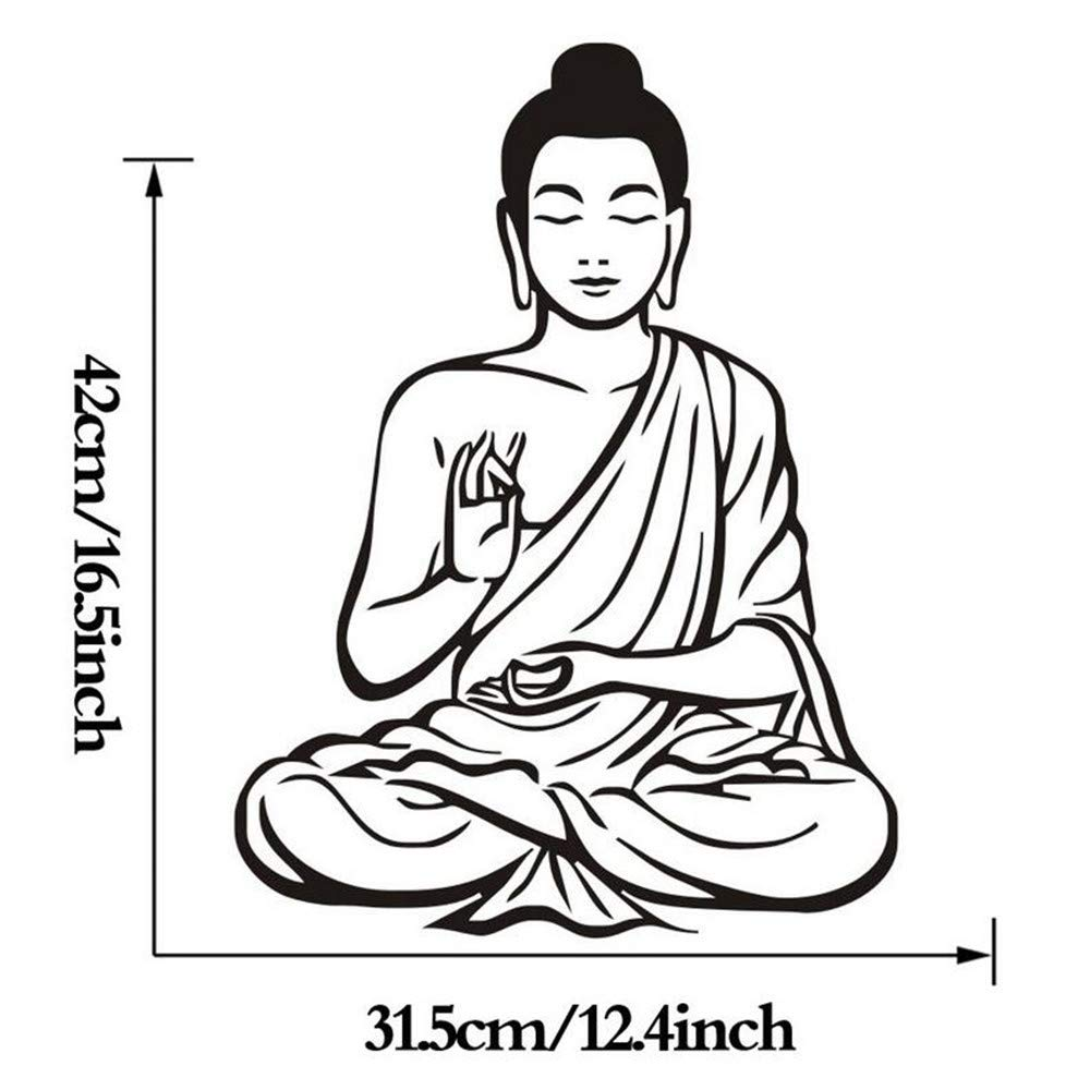 Amazon com wsqyf meditation buddha art wall sticker mural design buddhism decal removable vinyl sticker home decor wallpaper baby