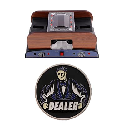 Baoblaze Mélangeur Automatique de Shuffler de Carte et Bouton Jeton Accessoires de Poker
