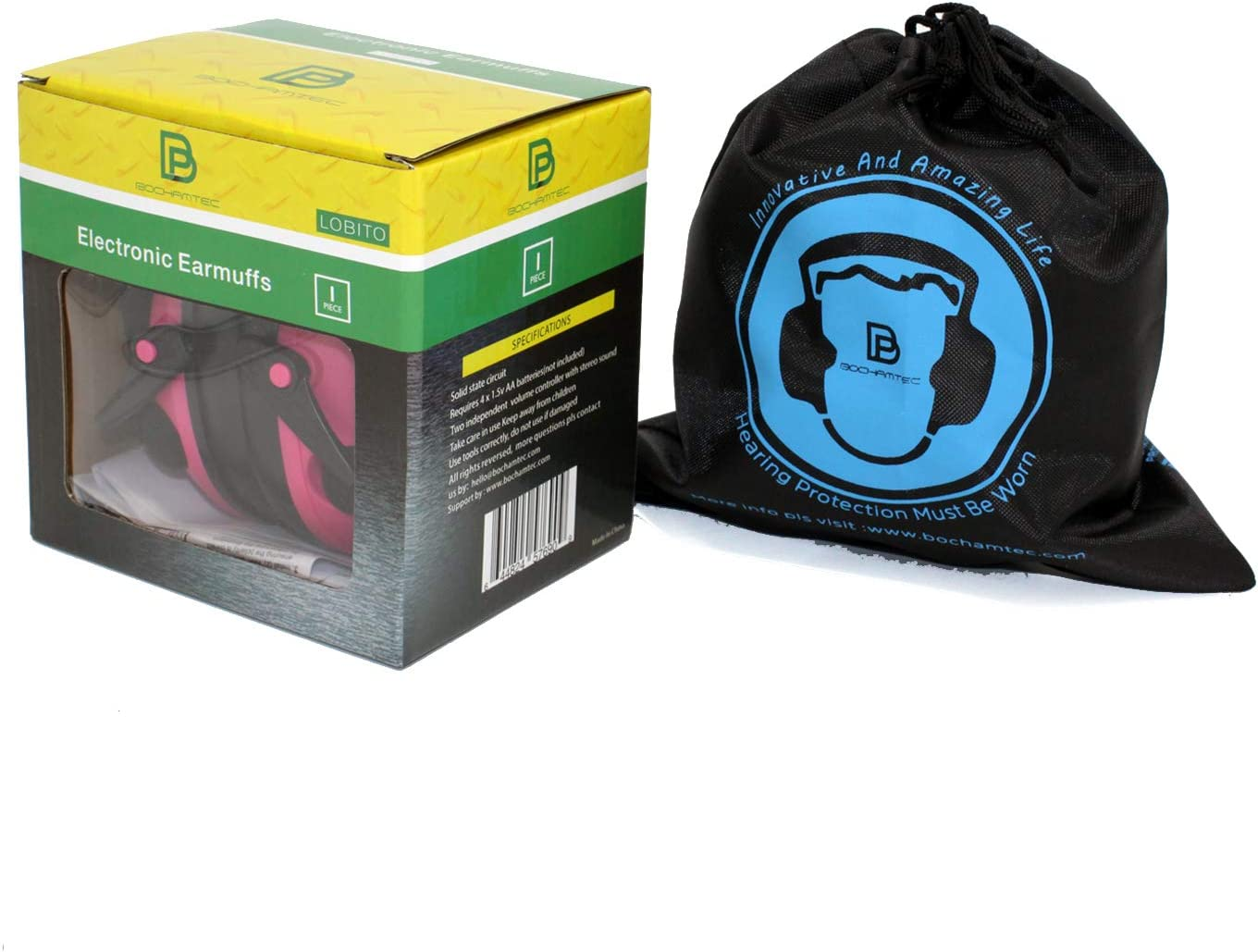 Bochamtec LOBITO Electronic Shooting Earmuff Noise Reduction Sound Amplification Electronic Safety Ear Muffs With a Carrying bag