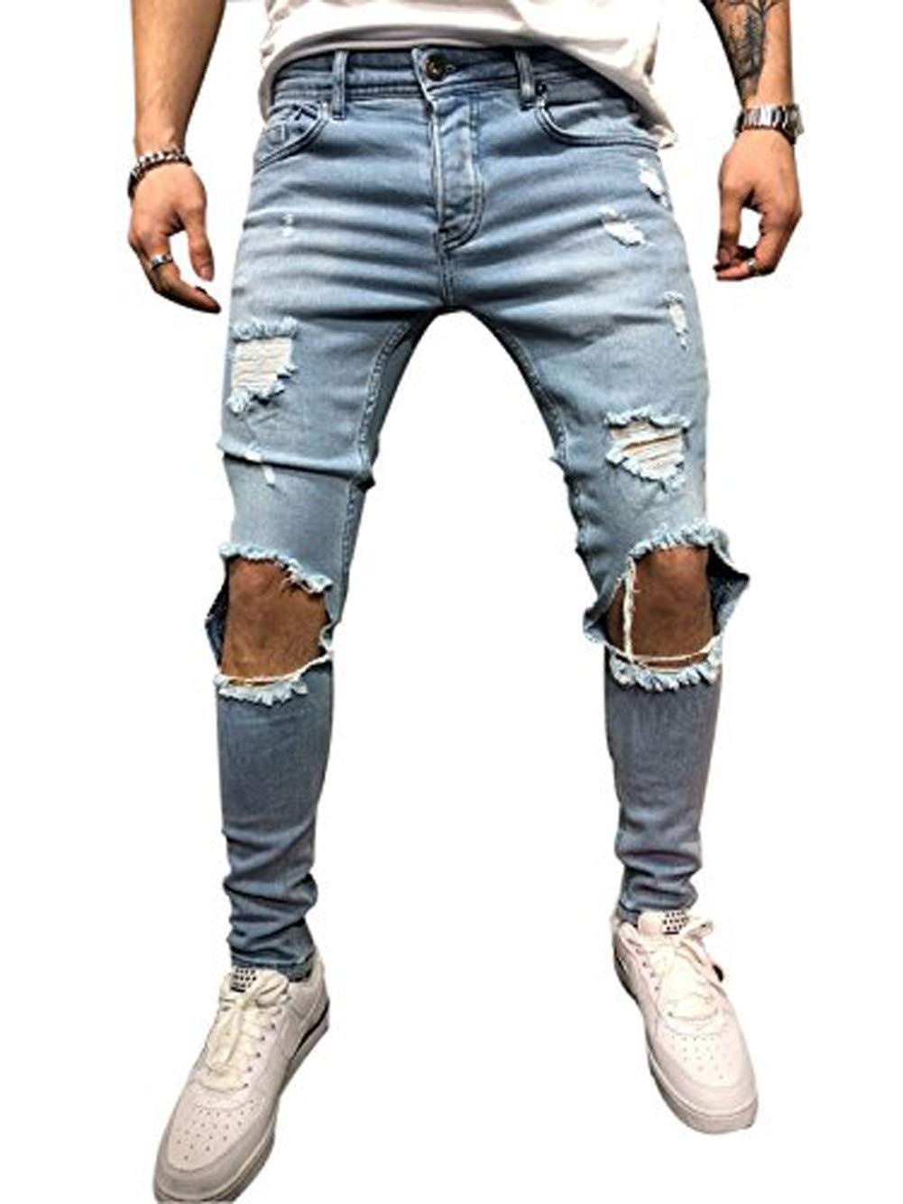 Foerverlonely Men Ripped Skinny Biker Jeans Frayed Pants Distressed Troursers