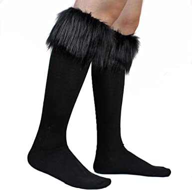 Ecosco Faux Fur Wrist Cuffs Warmer Cover Furry Leg Warmer Socks Assorted