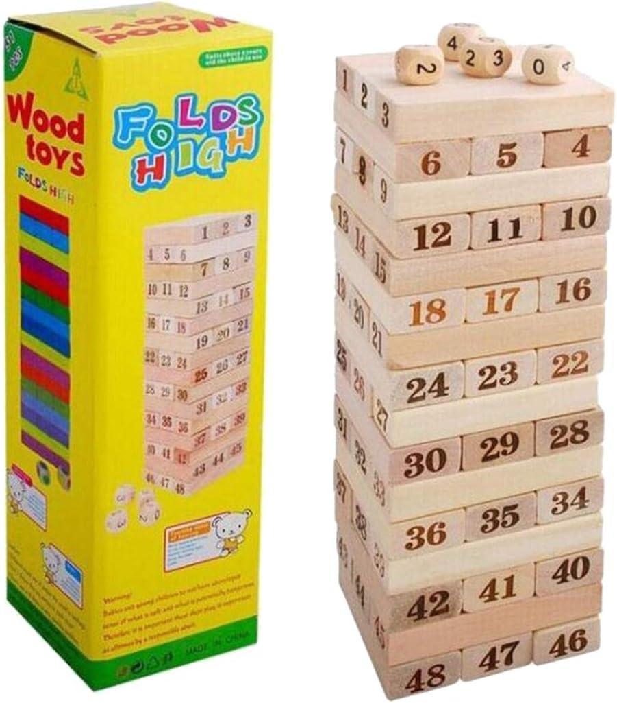 VHFIStj 48 Pcs Juegos de apilamiento de Torres de Madera clásico Juegos Familiares para niños Mayores de 3 años: Amazon.es: Juguetes y juegos