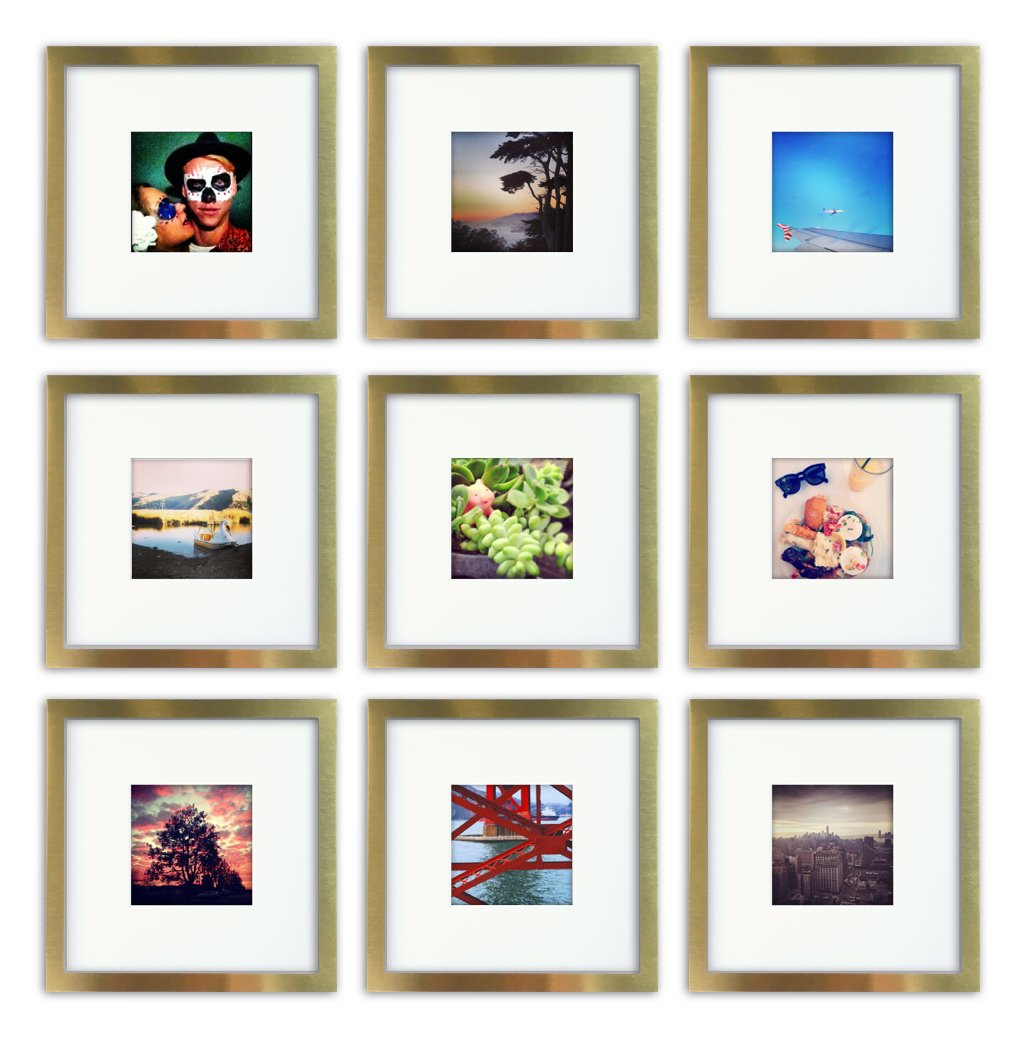 Tiny Mighty Frames 9-Set, Brushed Metal, Square Instagram Photo Frame, 8x8 (4x4 Matted) (9, Gold) by Tiny Mighty Frames