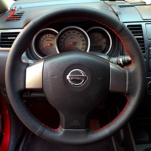 nuine Leather Steering Wheel Cover for 2007 2008 2009 2010 2011 2012 Nissan Versa ()