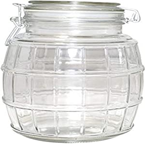 Gourmet Home Products Barrel Glass Storage Container Jar with Flip Top Lid, 62 oz, Clear