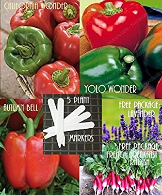 Bulk 3 Sweet Pepper Seeds Survival Seeds 750 Seeds Upc 647923989731 + 5 Plant Markers