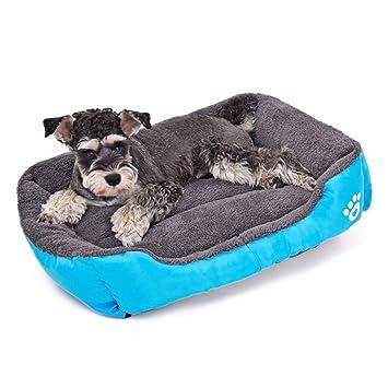 LA VIE Sofá Cama para Perro Impermeable en la Base Cojín Cama Cómoda y Suave para Mascotas Cesta para Gatos Cachorros Perros Pequeños y Medianos L Azul: ...