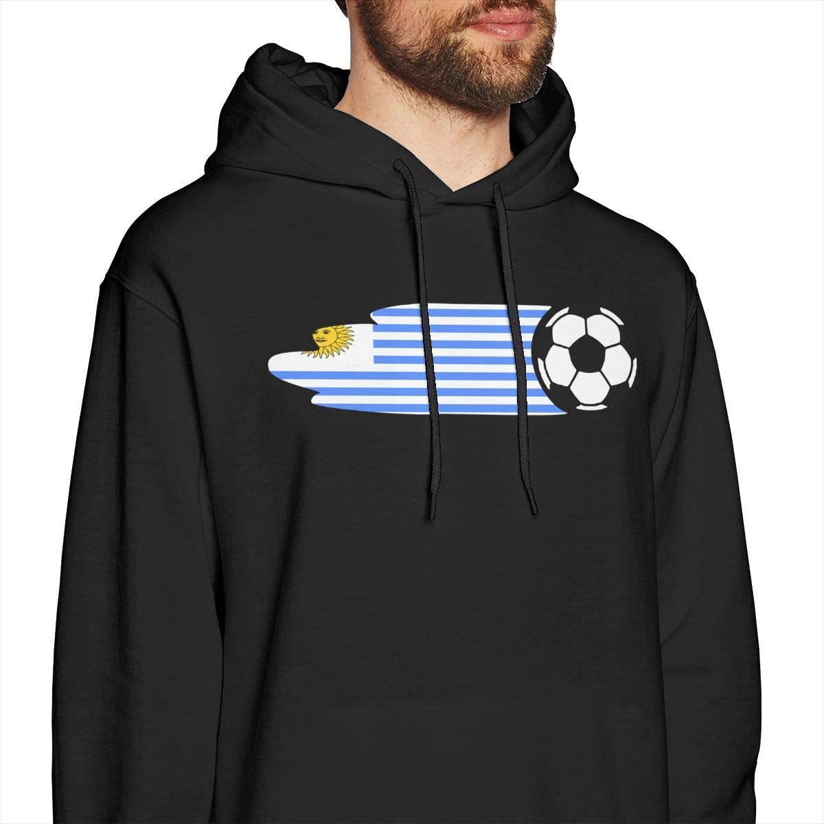 Mens Uruguay Flag Soccer Ball Hooded Sweatshirt Funny Graphic Athletic Pullover T-Shirt Black