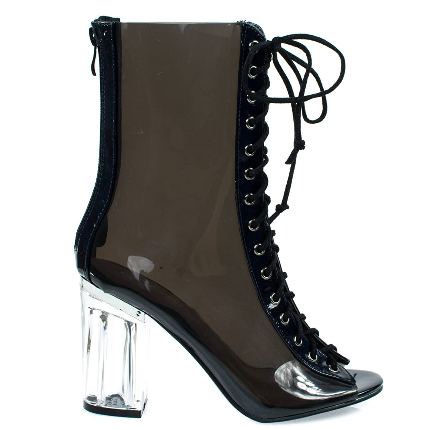 Above Ankle Clear Peep Toe Lace Up Boots & Perspex Plexiglas Block Heel