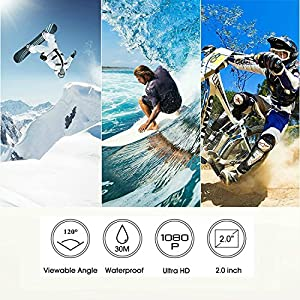 YELIN Action Camera Waterproof Sport Camera HD Camcorder Underwater Camera with 2 inch LCD Screen/170 Wide Angle Lens/2 Rechargeable Batteries by YELIN