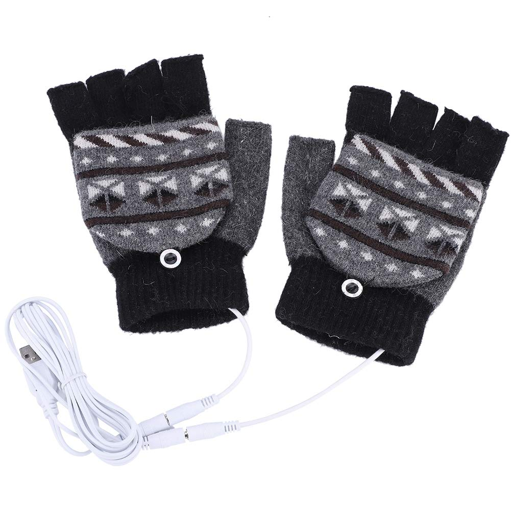 Heated Gloves, USB Heating Warm Keeping Half Fingers Winter Gloves Warmer Mitten(1#) VGEBY