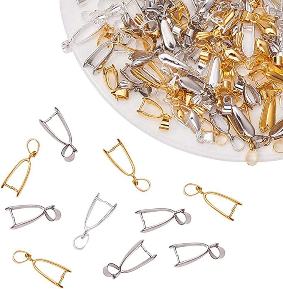 100 Piezas Cierre Bails Colgantes Joyería,Metal Pinch Clip Bail Bead Colgante Conector,Enganches para Colgantes,DIY Accesorio para Fabricación,Colgante,Collar,Broches (20 x 8 x 5.5 mm)