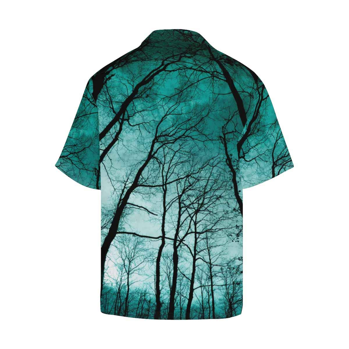 InterestPrint Mens Shirt Twilight in The Forest Mystic Nightscape Hawaiian T-Shirt for Men