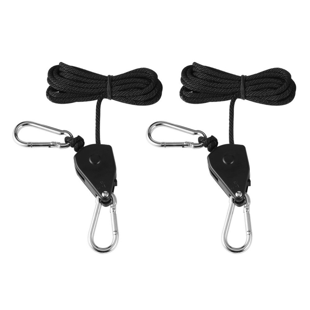 1pair 150lbs Load 1/8 Grow Light Rope Ratchet Lights Lifters Reflector Hangers
