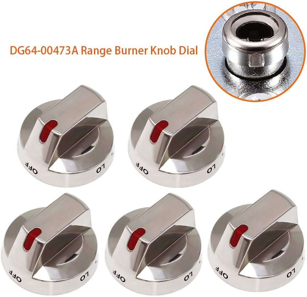 DG64-00473A Range Burner Knob Dial[ Upgraded & Heavy Duty ] Compatible with Samsung Range Oven - Replacement Part by AMI PARTS - Replaces DG64-00472A DG64-00347B DG64-00472B - 5 Pack