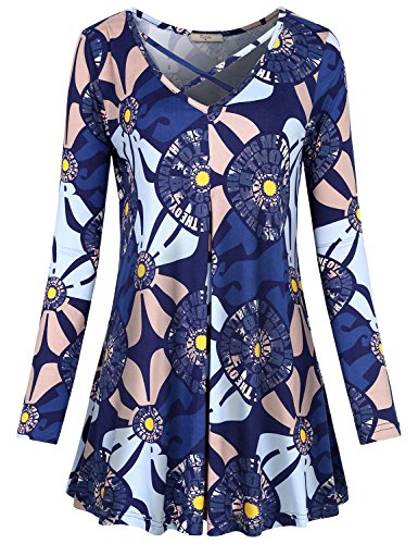 Floral Print Jersey Top - Cestyle Floral Blouses for Women, Ladies Sexy V Neck Tunic Boho Letter Print Draped Shirt Jersey Knit Polyester Fresh Weekday Clothes Shift Loose Fit Regular Long Sleeve Pullover Multi-Blue L