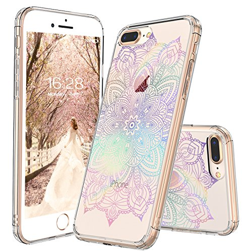 new concept dc98c c1447 MOSNOVO iPhone 8 Plus Case, iPhone 7 Plus Clear Case, Gradient Rainbow  Henna Mandala Printed Clear Design Plastic Case with TPU Bumper Case Cover  for ...
