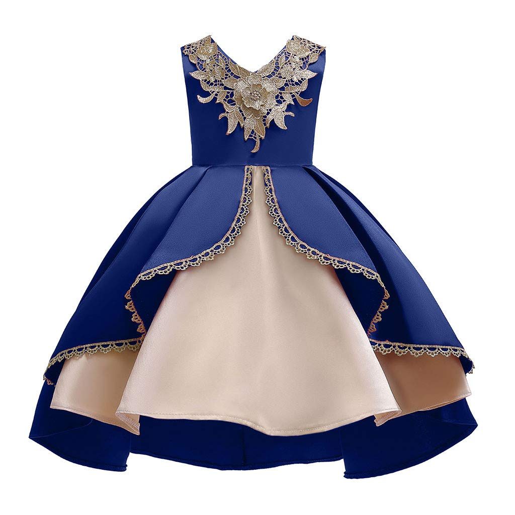 Kids Girls Vintage Princess Dress Floral Lace Sleeveless Party Gown Wedding Pageant Bridesmaid Dresses (Age:6-7 Years, Blue) by FDSD Baby Clothes