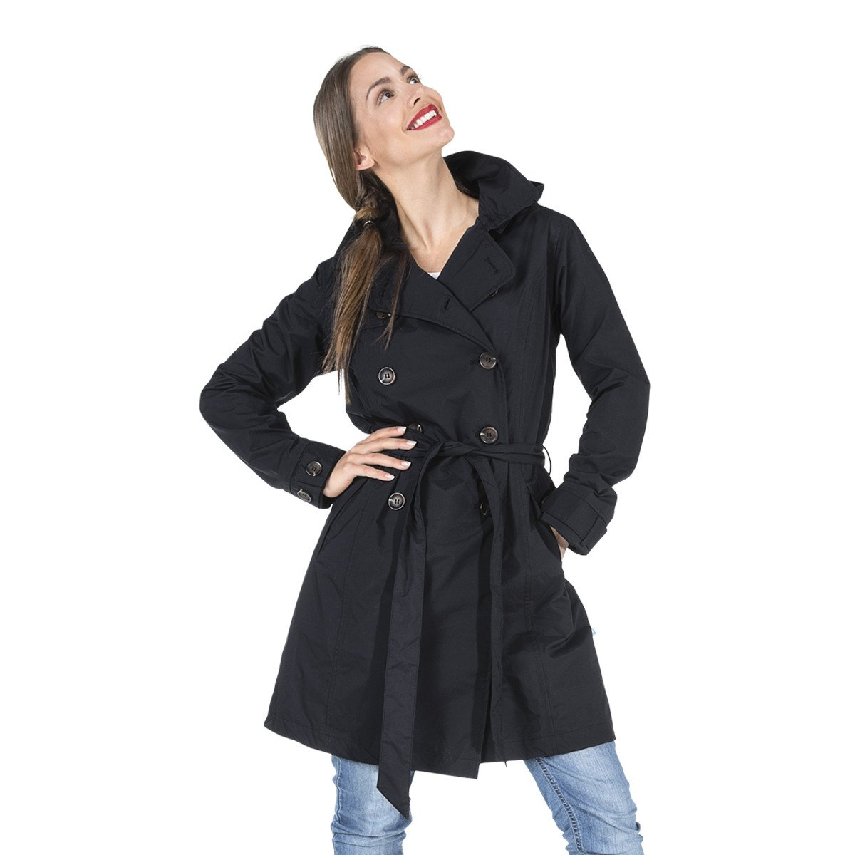 Happy Rainy Days Women's Classic Trench Coat With Removable Hood, Black, Large