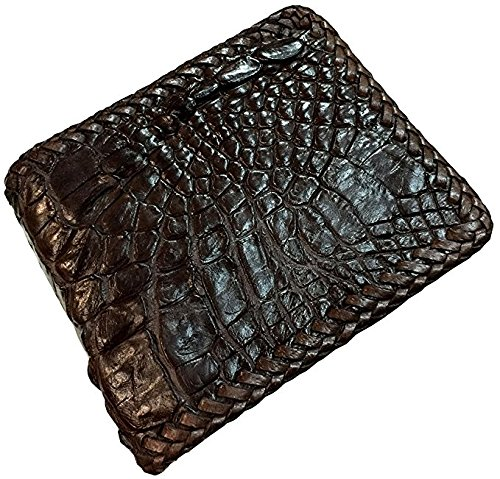 D'SHARK Luxury Crocodile Skin Leather Bi-fold Short Wallet (Dark Brown)