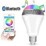 Lampadina Bluetooth Altoparlante, Morpilot LED Lampada Intelligente E27, Luce della Sera RGB / Audio Mini Altoparlante + Luci Multicolore - Funziona con IPhone, IPad, Apparecchi Android e Tablet