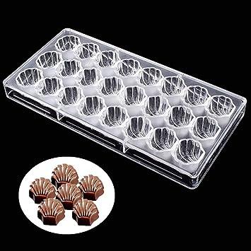 Molde de policarbonato en forma de concha de mar 3D 24 en 1 para chocolate
