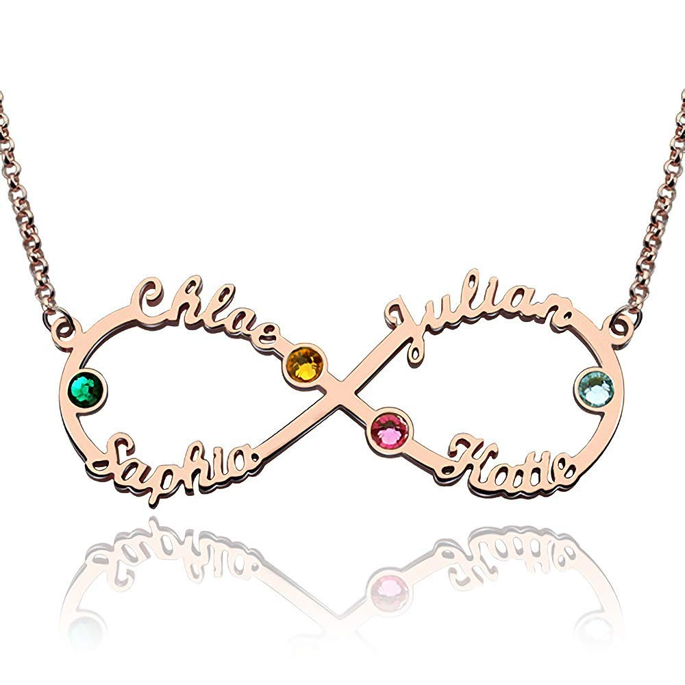 Infinity Necklace with 4 Names and 4 Birthstones Personalized Family Necklace for 4/Mothers Necklace Birthstone Jewelry