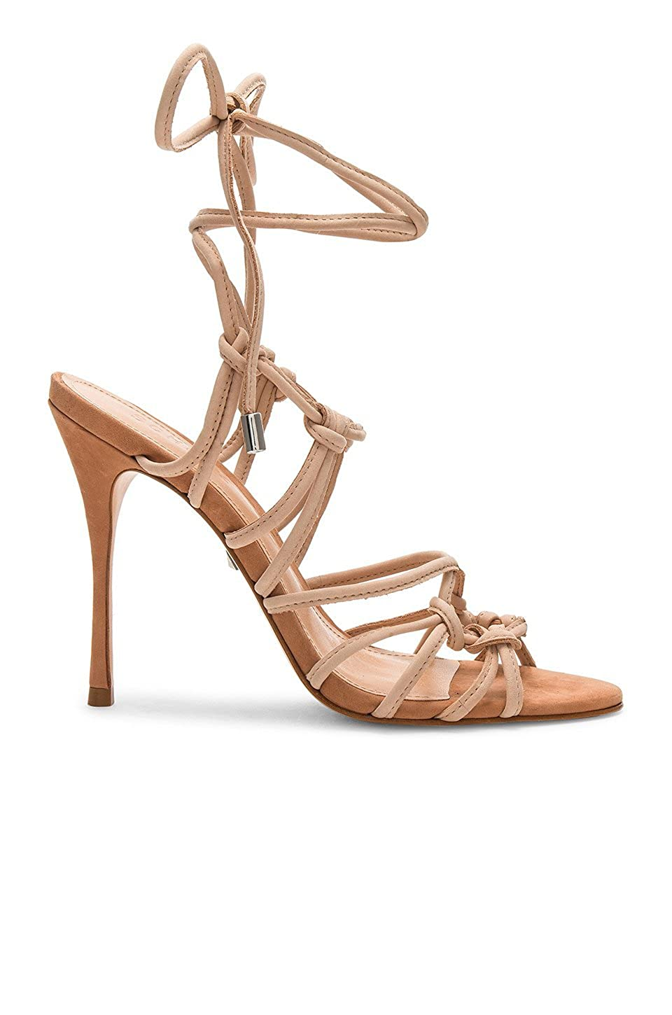 SCHUTZ Gleyce New Tanino Tan Brown Leather Wrap Ankle Tie Strappy Heel Sandals