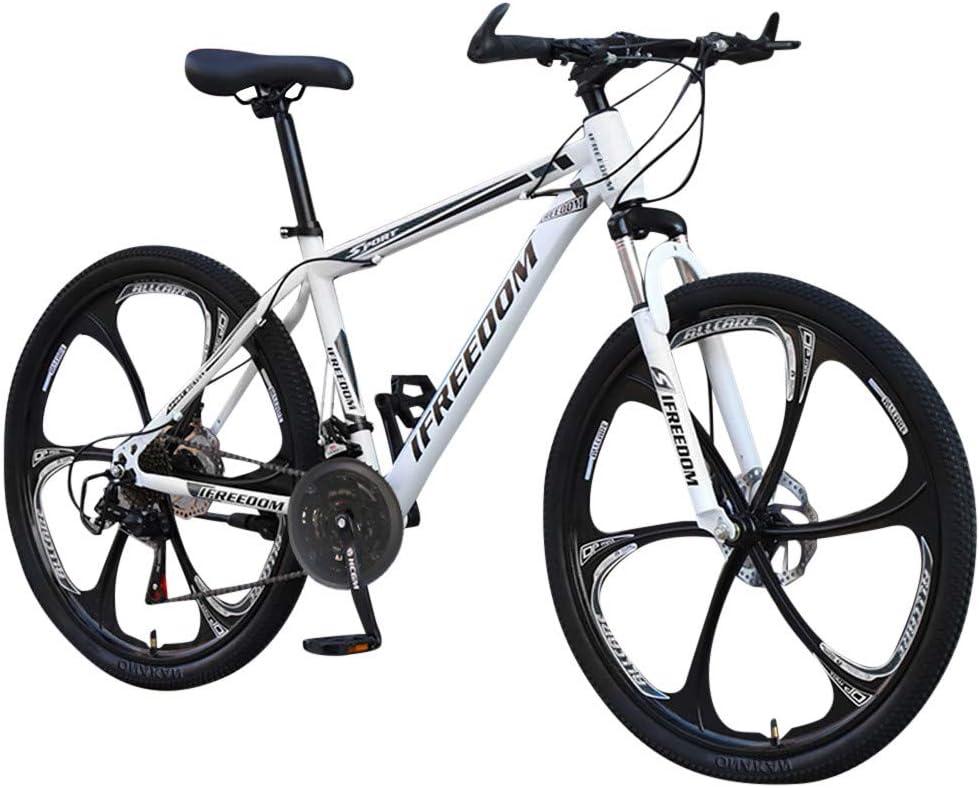 VTT,Vélo de montagne, vélos tout-terrain en acier au carbone, vélo de route 21 vitesses, vélo tout suspendu de 26 pouces, vélo de montagne pour jeunes et adultes (White) White