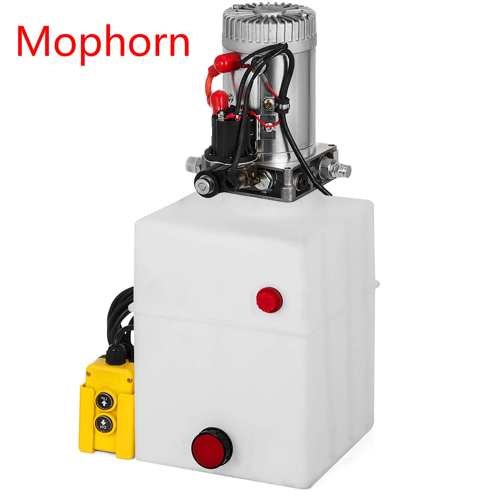 Mophorn Single Acting Hydraulic Dump Trailer Pump Plastic Poly Reservoir(12VDC Single Action Powering Unit, SAE #6 Ports, 3200 PSI, 20 Quart Reservoir)